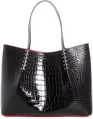 Christian Louboutin Large Cabarock Croc Embossed Leather Tote