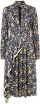 ADAM by Adam Lippes Floral printed long sleeve dress with asymmetrical detail