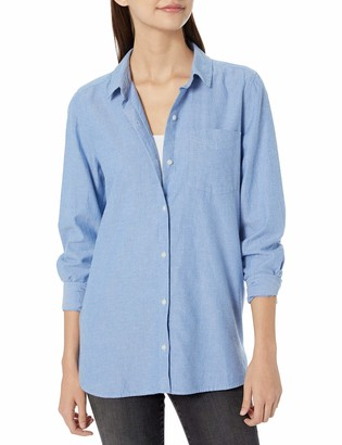 Goodthreads Solid Brushed Twill Long-sleeve Button-front Shirt Chambray Blue XS