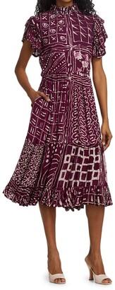 Busayo Febi Ruffle Sleeve Printed Dress