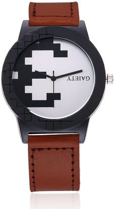 naivo Men's Quartz Watch with Gold Plated Stainless Steel Strap Burgundy (Model: 1)