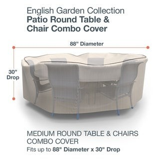 Budge Waterproof Outdoor Round Patio Table and Chairs Combo Cover, English Garden, Tan Tweed, Multiple Sizes