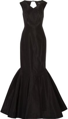 Zac Posen Fluted Open-back Silk-faille Gown