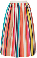 Alice + Olivia Nikola Striped Stretch-cotton Poplin Midi Skirt - Ivory
