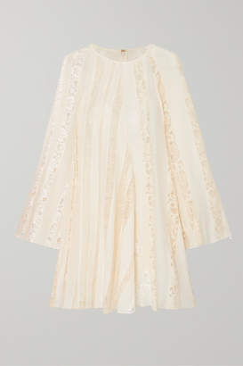 Chloé Lace-paneled Silk-chiffon Mini Dress - Ivory