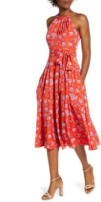 Brinker & Eliza Floral High Neck Midi Dress