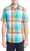 Bugatchi Men's Shaped Fit Short Sleeve Plaid Sport Shirt