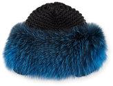 Inverni Cashmere Fur-Trim Beanie, Gray/Blue
