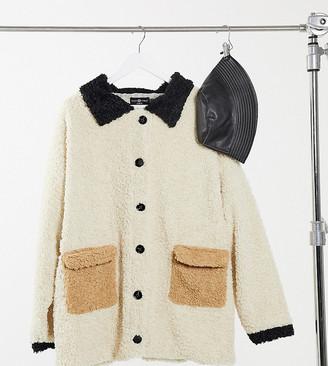Daisy Street Plus trucker jacket with pocket detail in neutral colourblock