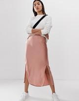 Asos Design DESIGN bias cut satin midi skirt with splits