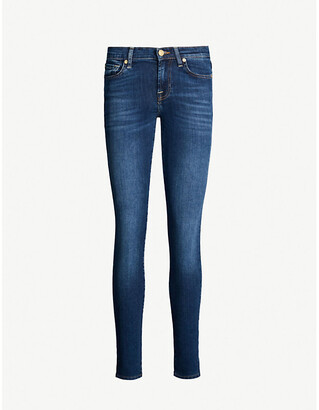 7 For All Mankind Women's Duchess Bair Super-Skinny Mid-Rise Jeans, Size: 25