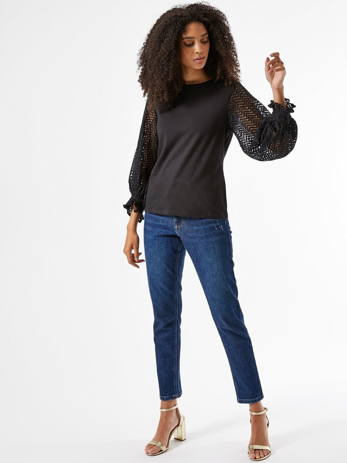 Thumbnail for your product : Dorothy Perkins Zig Zag Contrast Balloon Sleeve Blouse - Black