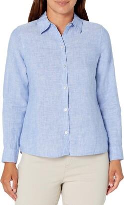 Foxcroft Women's Jordan Petite Size 3/4 SLV. Non-Iron Chambray Linen Shirt