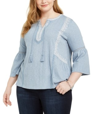 Style&Co. Style & Co Plus Size Crochet-Trim Bell-Sleeve Peasant Top, Created for Macy's