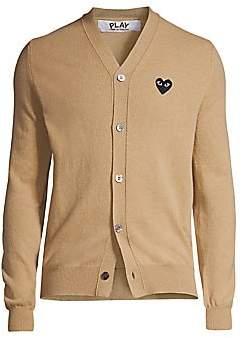 Comme des Garcons Men's Wool Logo Cardigan Sweater