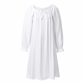 Agoky Girls Princess Cotton Square Neck Long Sleeves/Short Sleeves Nightdress Sleepwear Nightgown White 10-12 Years