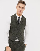 Asos Design DESIGN slim suit vest in 100% wool Harris Tweed khaki micro check