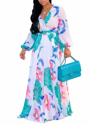 CORAFRITZ Womens Plus Size Dresses V Neck Long Sleeve Dress Floral Print Casual Evening Party Maxi Dress White