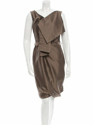 Pauw Sleeveless Draped-Accented Dress w/ Tags Brown