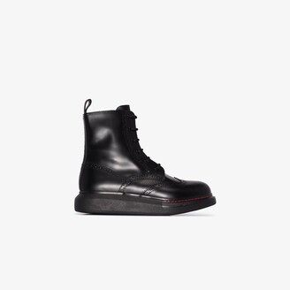 Alexander McQueen black Hybrid lace-up boots