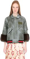 Gucci Spray Painted Nylon Bomber W/ Mink Fur
