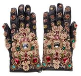 Dolce & Gabbana Embellished Leather Gloves w/ Tags
