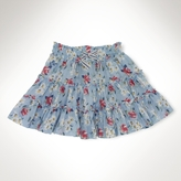 Floral Cotton Tiered Skirt