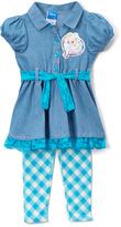 Children's Apparel Network Blue Elsa Puff-Sleeve Dress & Leggings - Toddler & Girls