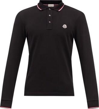 Moncler Logo-applique Long-sleeved Cotton Polo Shirt - Black