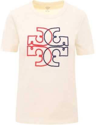 Tory Burch Logo Embroidered T-Shirt