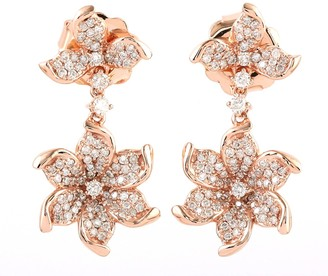 Artisan Flower Dangle Earring With Pave Diamonds In 18K Rose Gold