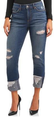 Sofia Jeans By Sofia Vergara Sofia Jeans Veronica Destructed Cuffed High Waist Straight Cropped Jean Women's (Dark)