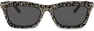 Michael Kors Rectangular Frame Leopard Print Sunglasses