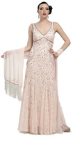 Sue Wong Sleeveless Embellished Long Dress in Blush N1118