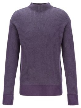 Relaxed-fit sweater with two-tone rib structure