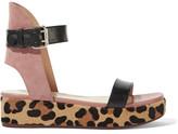 Francesco Russo Leather, Suede And Leopard-print Goat Hair Platform Sandals - Black