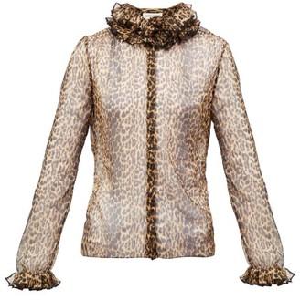 Saint Laurent Ruffled Leopard-print Silk-chiffon Blouse - Leopard