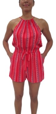 Fishbowl Juniors' Striped Halter Romper