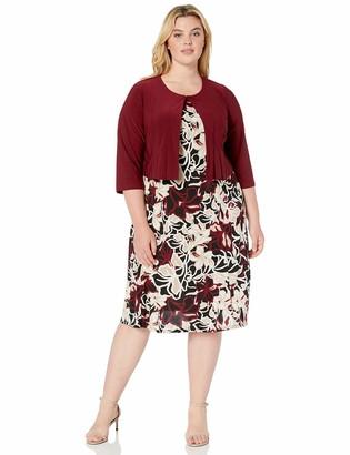 Julian Taylor Women's Plus Size Two Piece 3/4 Sleeve Short Jacket and Midi Dress