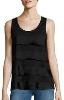 Lord & Taylor Mixed Media Tiered Tank