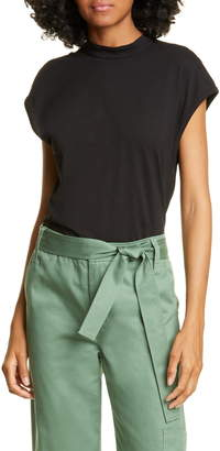 Tibi Mock Neck Cap Sleeve Cotton Top