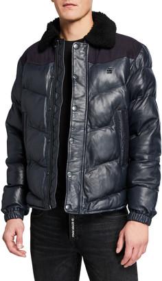 G Star G-Star Men's Western Leather Puffer Jacket