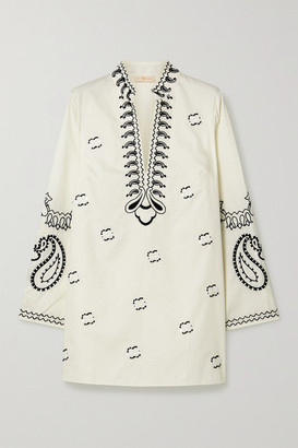 Tory Burch Sequin-embellished Embroidered Cotton-poplin Tunic - Ivory