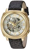 Vince Camuto Men's VC/1091SVGP Automatic Gold-Tone and Grey Leather Strap Watch