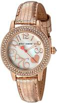 Betsey Johnson Women's Quartz Metal and Leather Casual Watch, Color:Rose Gold-Toned (Model: BJ00251-14)