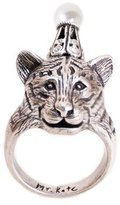Mr. Kate Turnt Tiger Party Animal Plated Brass Ring, Size 6
