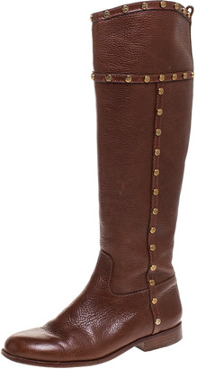 Tory Burch Brown Leather Mae Studded Knee Length Boots Size 36