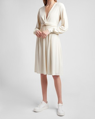 Express Pleated Twist Front Dress