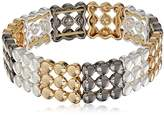Nine West Tri-Tone Silver, Gold and Hematite Stretch Bracelet