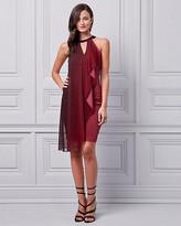Le Château Ombre Knit Halter Ruffle Dress